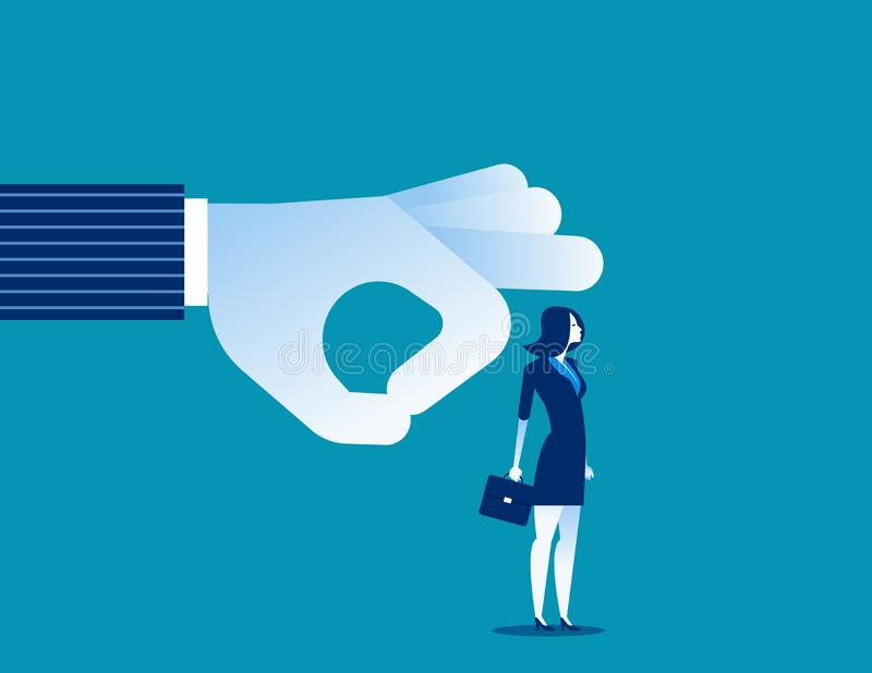 abgefeuert Manager, der Geschäftsfrau weg vom Team schlägt Konzeptgesch?fts-Vektorillustration stock abbildung