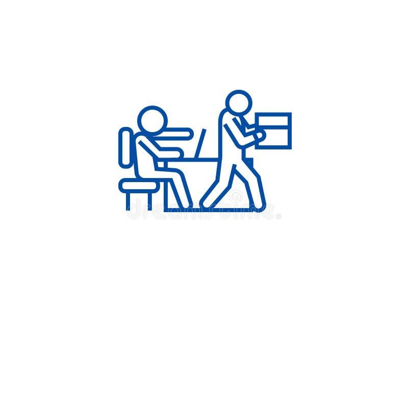 Abgefeuert von der Joblinie Ikonenkonzept Abgefeuert vom flachen Vektorsymbol des Jobs, Zeichen, Entwurfsillustration vektor abbildung