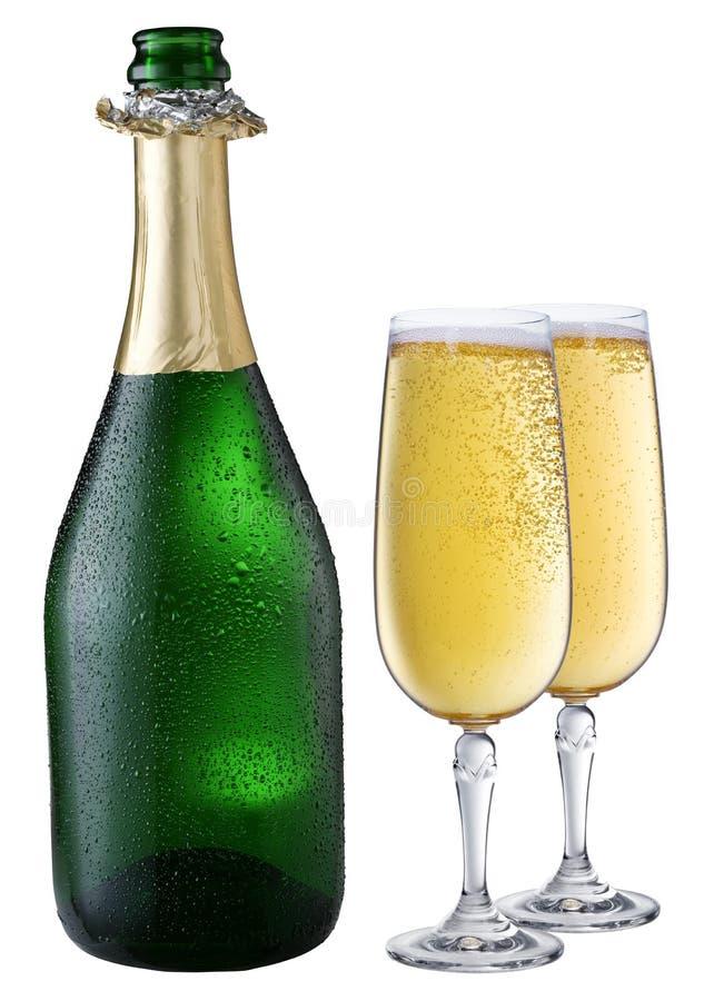 Abgekühlte Champagnerflasche lizenzfreie stockbilder