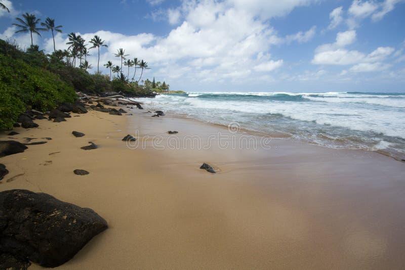 Abgelegener Strand auf Ostseite Kauai mit Felsen und Brandung stockbild