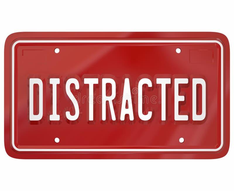 Abgelenkte Fahrer-Word Red License-Platte, die Dangero fahrend simst lizenzfreie abbildung