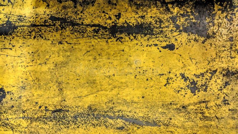 Abgenutzter gemalter gelber Artschmutz der Stahlplatte stockfotos