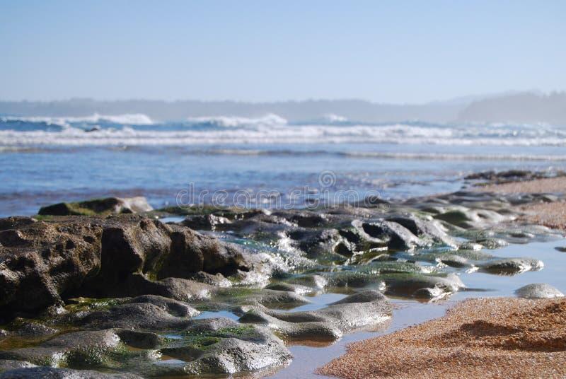 Abgenutzter Lavafelsen Kauai-Strand, Hawaii lizenzfreies stockfoto