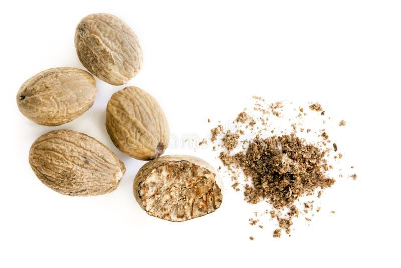 Abgeschlossener Nutmeg-Überblick über die gesamte und gesamte Bodenfläche stockfoto