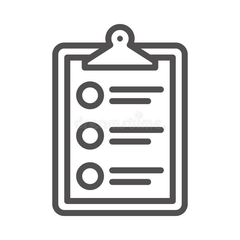 Abgeschlossenes Symbol für die Vector Line der Checkliste Graphic Style in EPS 10 simple Line Icon Element Business & Office Konz lizenzfreie abbildung