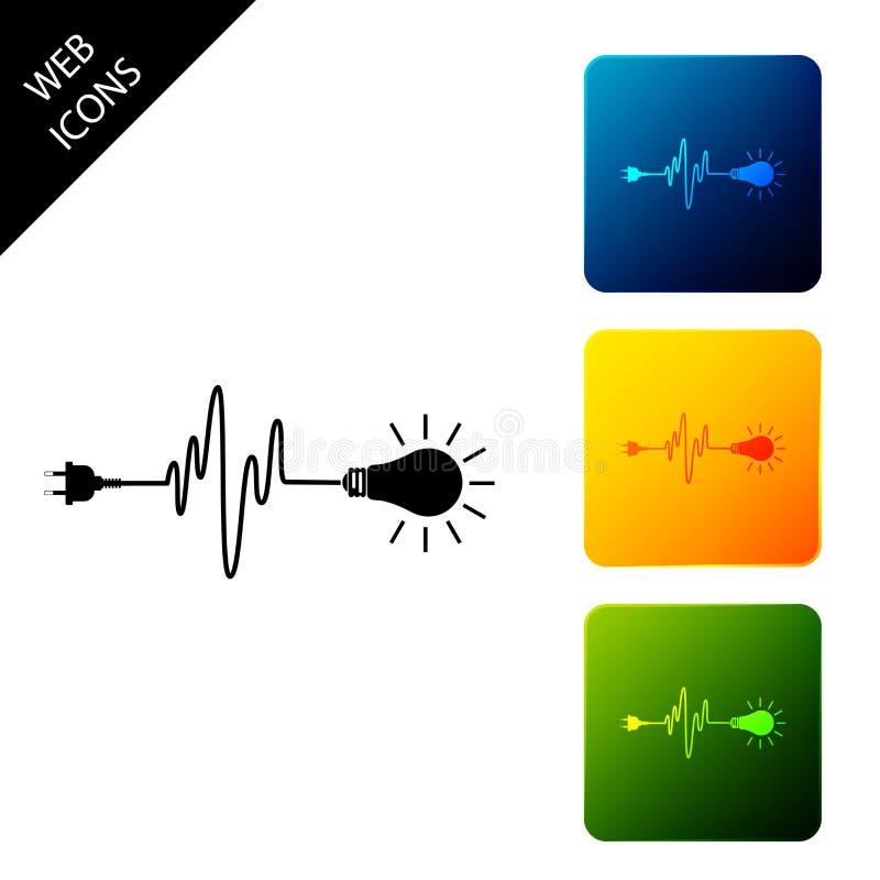 Abgeschlossenes Symbol für Kabelstecker und Glühbirnen Stecker, Lampe und Kabel in Form von Herzschlag Konzept der Elektrizität u vektor abbildung