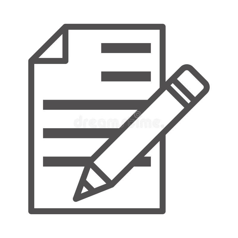 Abgeschlossenes Vector Line-Symbol schreiben Graphic Style in EPS 10 simple Line Icon Element Business & Office Konzept bearbeitb lizenzfreie abbildung