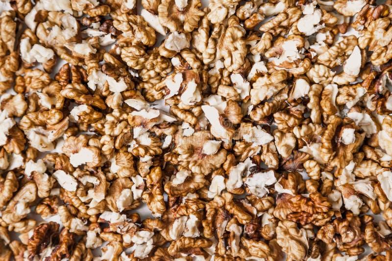 Abgezogene Nüsse sind eine gleichmäßige Schicht Ansicht von oben lizenzfreie stockfotos