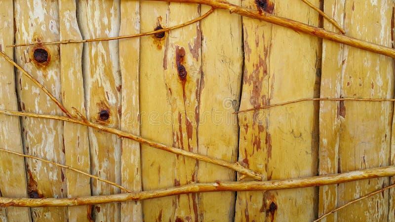 Abgezogene Zweige, lackiert mit transparentem Lack und zu einem Bretterzaun befestigt, der auch von den hölzernen Brettern nah an lizenzfreies stockfoto