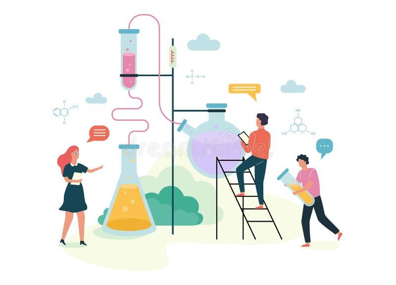 Abhängiges Konzept der Chemie Wissenschaftliches Experiment im Labor lizenzfreie abbildung