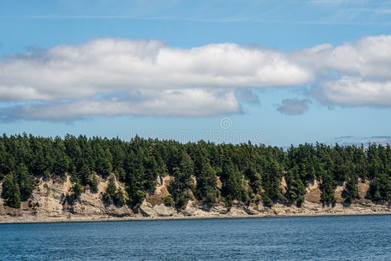 Abhang bedeckt in den immergrünen Bäumen über einem felsigen Ufer mit Abnutzung und alten Erdrutschen, blaue Wolken und weiße ges lizenzfreies stockfoto