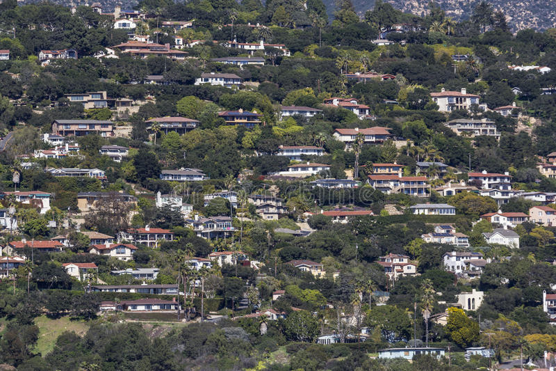 Abhang-Häuser Santa Barbara Kalifornien stockbilder