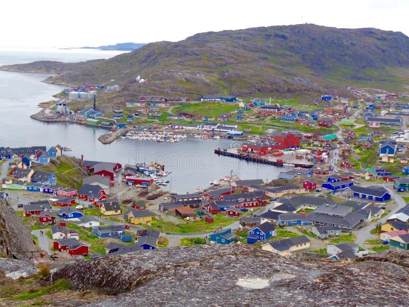 Abhangansicht von Qaqortoq, Grönland stockbild