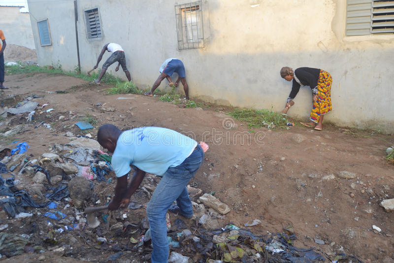 ABIDJAN CITY CLEAN. Operation Abidjan, a clean town initiated by the Ivorian government, which aims to restore the Ivorian economic capital to a state of stock photography