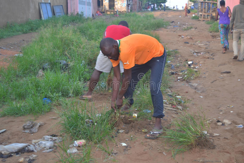 ABIDJAN CITY CLEAN. Operation Abidjan, a clean town initiated by the Ivorian government, which aims to restore the Ivorian economic capital to a state of royalty free stock images