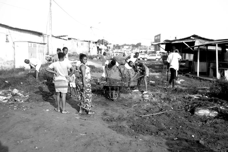 ABIDJAN CITY CLEAN. Operation Abidjan, a clean town initiated by the Ivorian government, which aims to restore the Ivorian economic capital to a state of royalty free stock photos