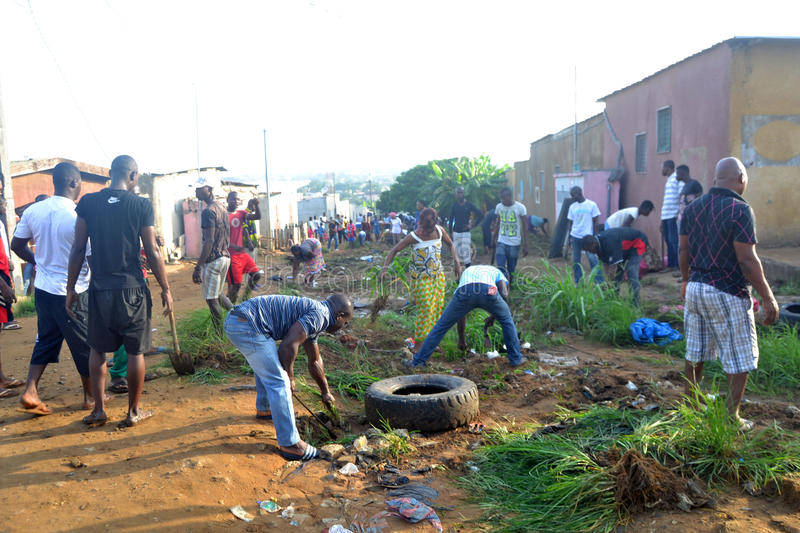 ABIDJAN CITY CLEAN. Operation Abidjan, a clean town initiated by the Ivorian government, which aims to restore the Ivorian economic capital to a state of stock photo