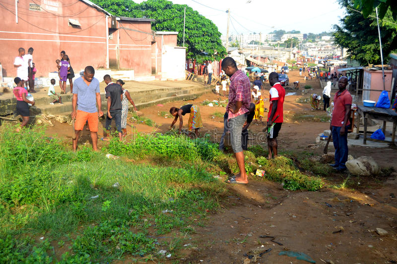 ABIDJAN CITY CLEAN. Operation Abidjan, a clean town initiated by the Ivorian government, which aims to restore the Ivorian economic capital to a state of stock image