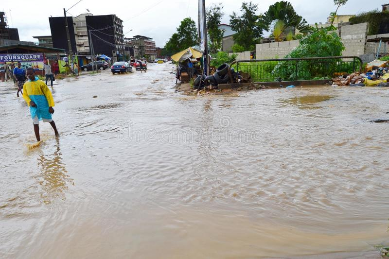 Abidjan of landslides due to rain. The heavy rains since Wednesday have caused flooding and extensive damage in several residential areas in Abidjan. Several stock photos