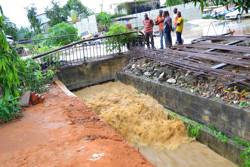 Abidjan of landslides due to rain. The heavy rains since Wednesday have caused flooding and extensive damage in several residential areas in Abidjan. Several stock image