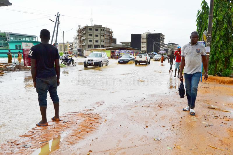Abidjan of landslides due to rain. The heavy rains since Wednesday have caused flooding and extensive damage in several residential areas in Abidjan. Several royalty free stock photo