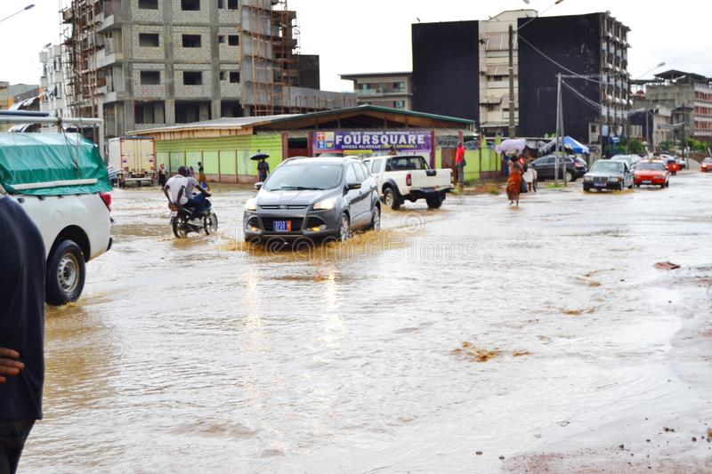Abidjan of landslides due to rain. The heavy rains since Wednesday have caused flooding and extensive damage in several residential areas in Abidjan. Several royalty free stock photos