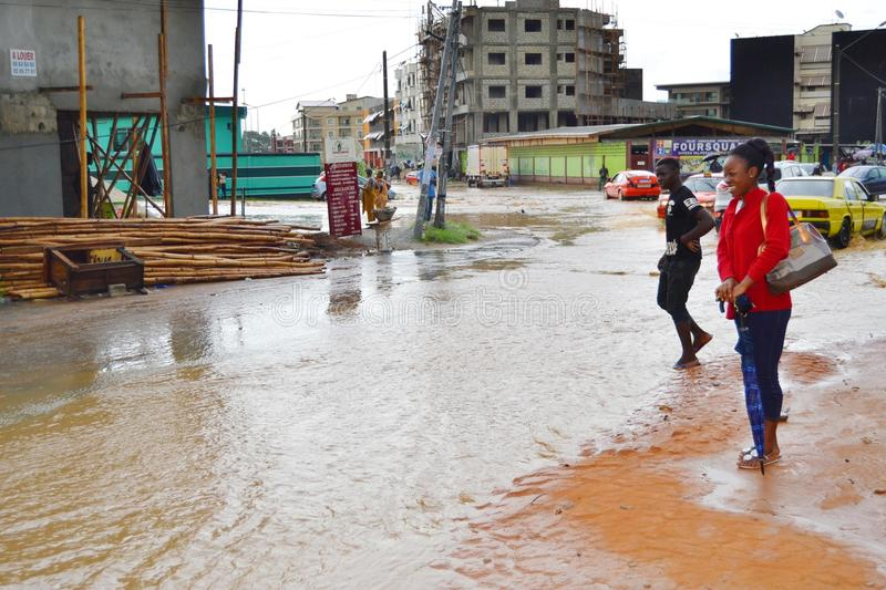 Abidjan of landslides due to rain. The heavy rains since Wednesday have caused flooding and extensive damage in several residential areas in Abidjan. Several stock photo