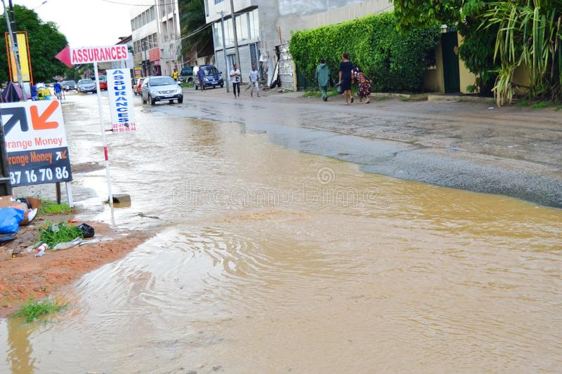 Abidjan of landslides due to rain. The heavy rains since Wednesday have caused flooding and extensive damage in several residential areas in Abidjan. Several royalty free stock photography