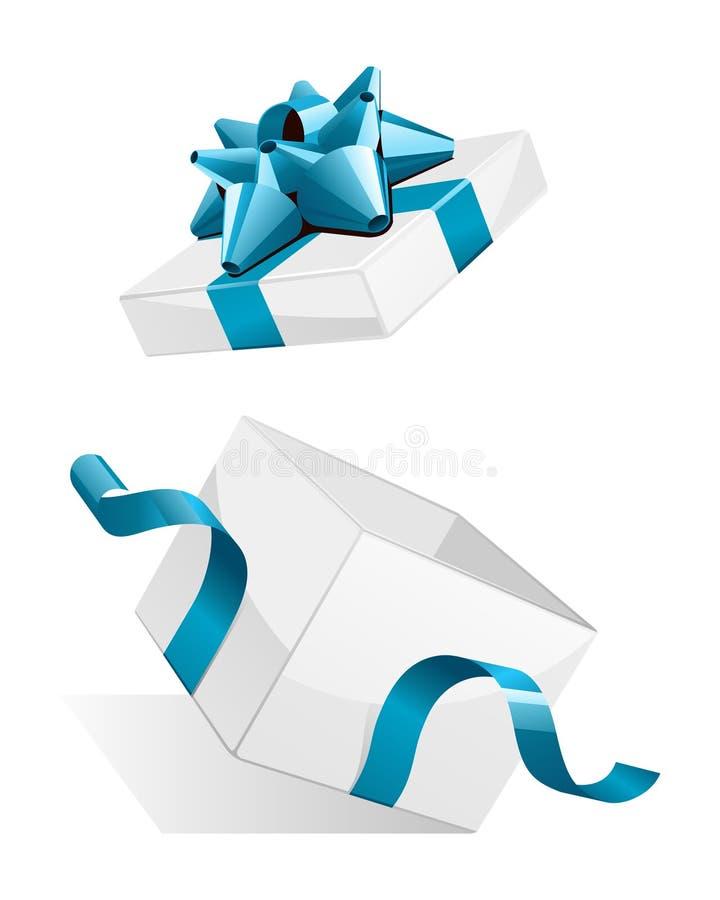 Abierto explore el regalo blanco con el arqueamiento azul ilustración del vector