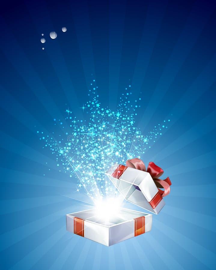 Abierto explore el regalo con las estrellas stock de ilustración