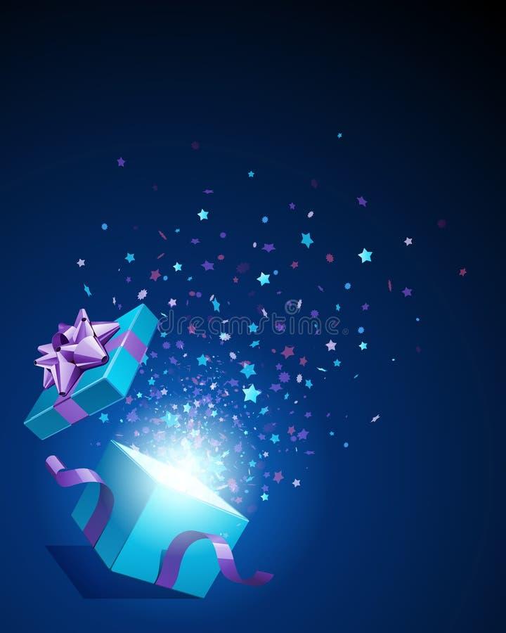 Abierto explore el regalo con las estrellas de la mosca stock de ilustración
