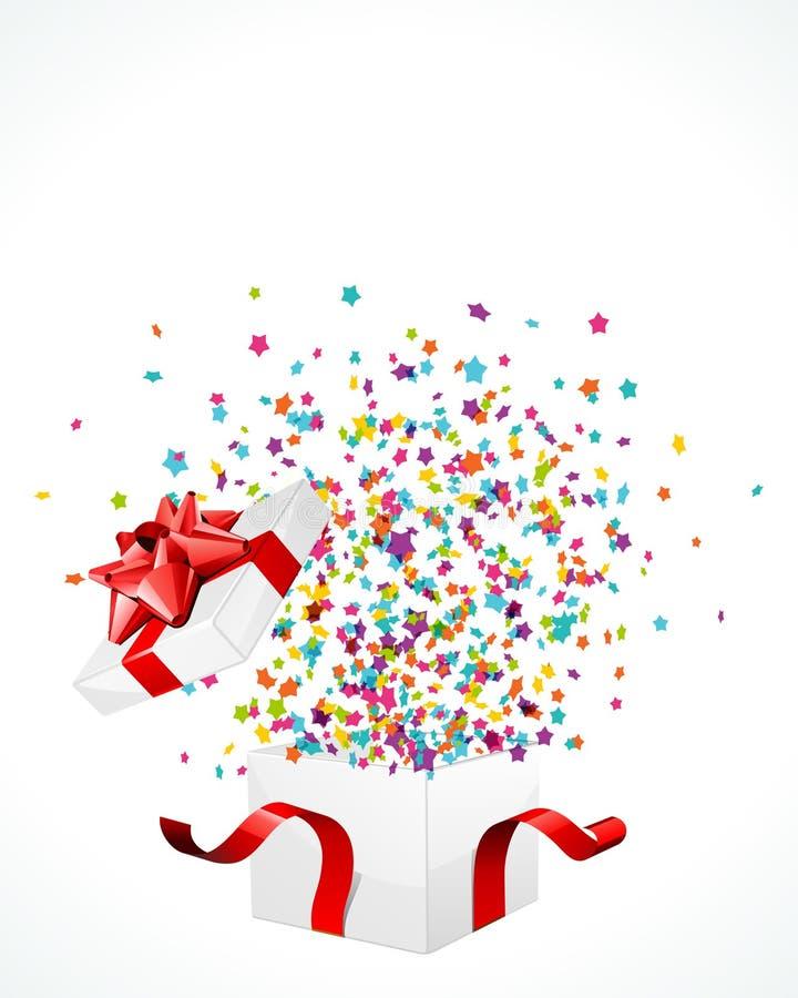 Abierto explore el regalo con las estrellas de la mosca ilustración del vector
