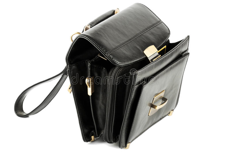 Abierto sirve el bolso de cuero negro fotos de archivo libres de regalías