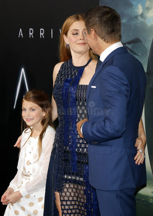 Abigail Pniowsky, Jeremy Renner and Amy Adams royalty free stock photos