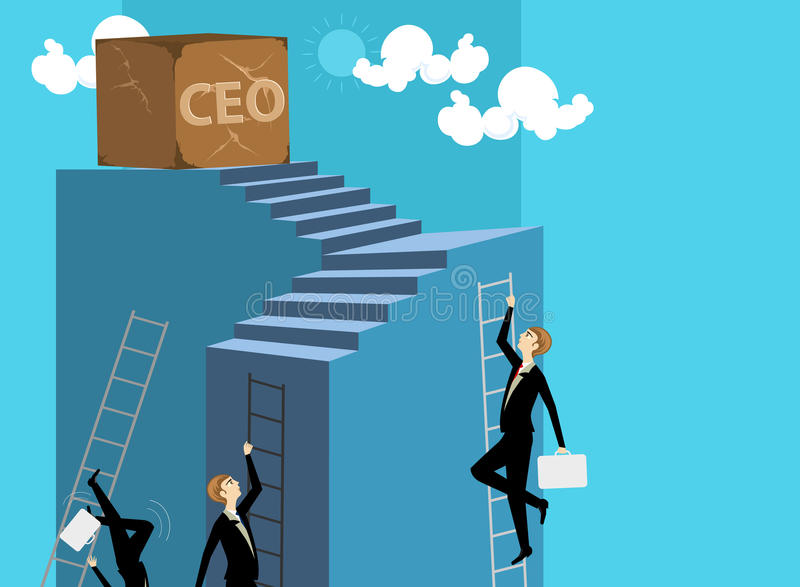 Ability and goal. Business man cartoon concepts background stock illustration