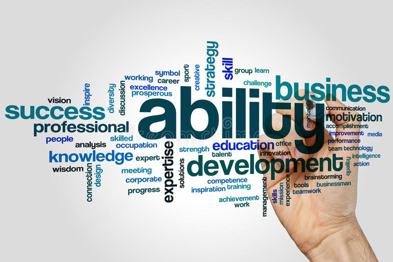Ability word cloud. Concept on grey background stock photos