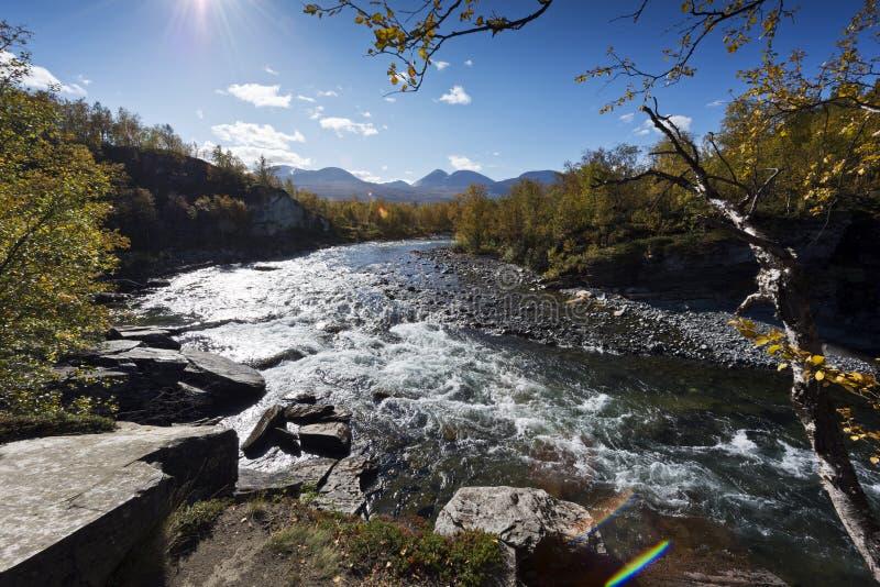 Abiskojokk Rivière en automne en parc national d'Abisko, Suède images libres de droits