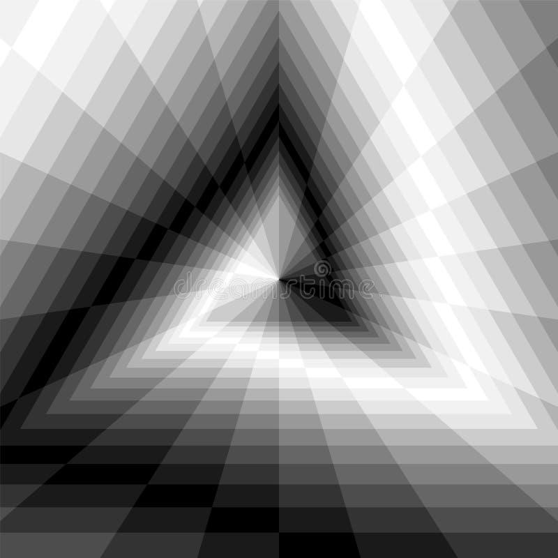 Abisso del triangolo Rettangoli monocromatici che si espandono dal centro Illusione ottica di volume e di profondità illustrazione vettoriale