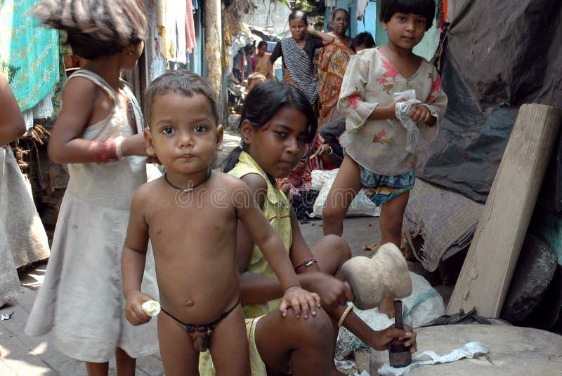 Abitanti di bassifondi dell'Kolkata-India fotografie stock libere da diritti