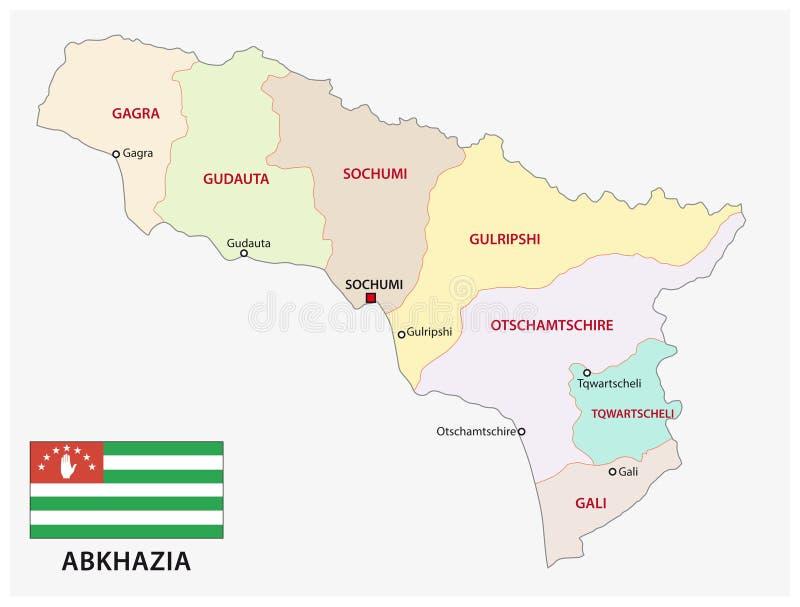 Abkhazia administracyjna i polityczna wektorowa mapa z flaga ilustracja wektor