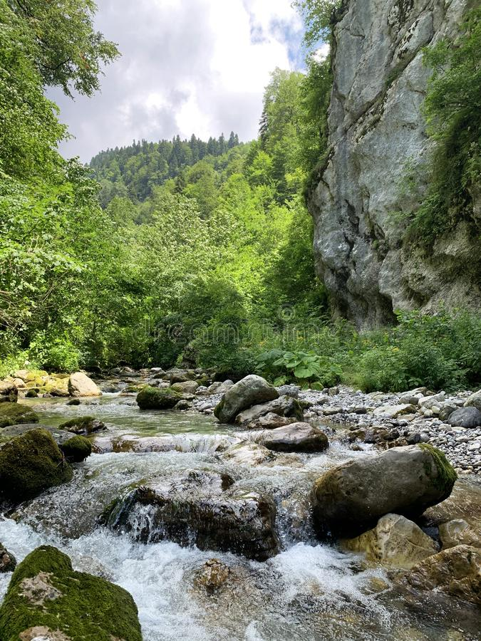 Abkhazia, mountain river in the gorge Tsandripsh in the summer in cloudy day royalty free stock photos