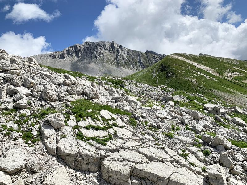 Abkhazia. Rocky area of the plateau Arabika Arabica, the pass to the lake of Dzou.  royalty free stock photos