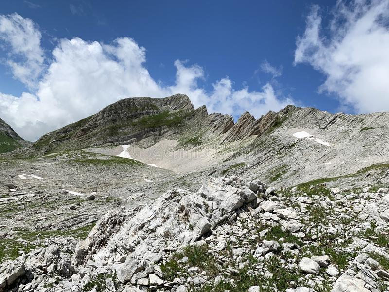 Abkhazia. Rocky area of the plateau Arabika Arabica, the pass to the lake of Dzou.  stock images