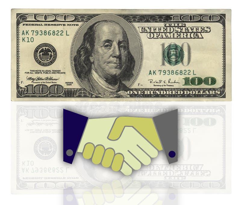Abkommen gegen hundert Dollar lizenzfreie stockbilder