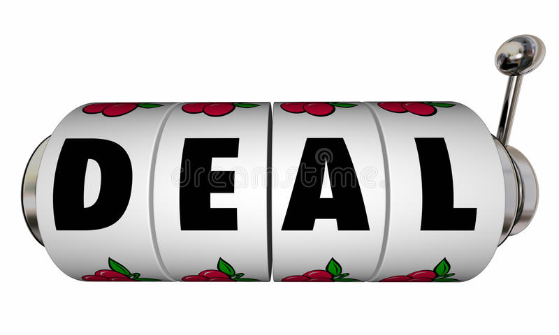 Abkommen-Spielautomat-Räder schließen Verkaufsvertrag stock abbildung