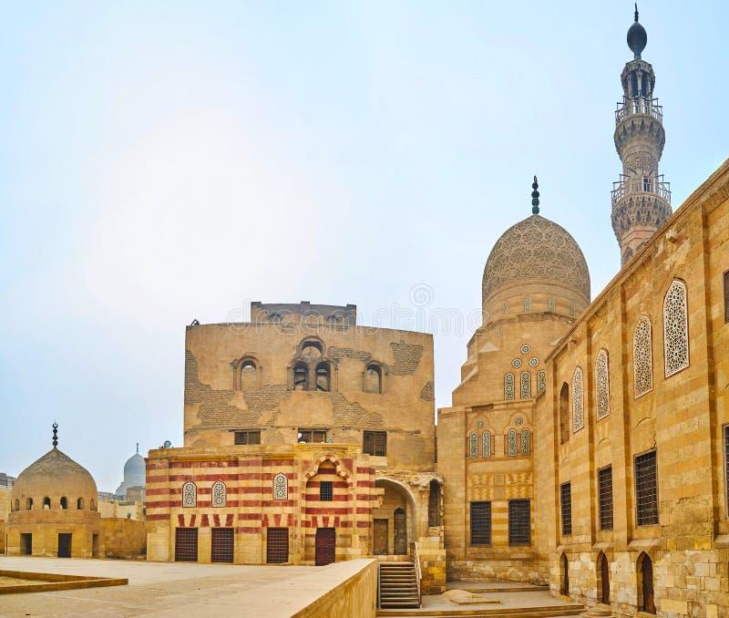 Architectural ensemble of Amir Khayrbak Funerary Complex, Cairo, Egypt. Ablaq striped decoration of medieval architectural ensemble of Amir Khayrbak Funerary stock image