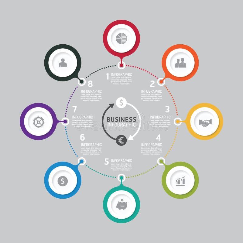 Ablaufdiagramm der kommerziellen Daten Abstrakte Elemente des Diagramms, Diagramm mit Ikonen lizenzfreie abbildung