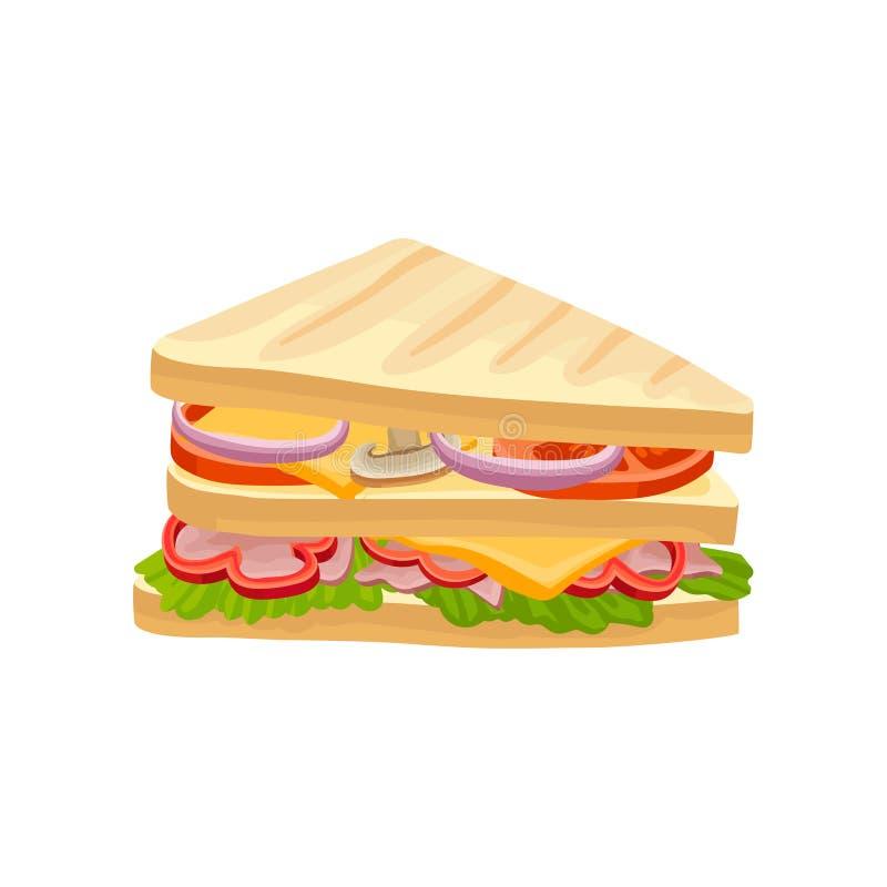 Ablegrująca kanapka z świeżymi warzywami, baleronem i serem, Przekąska dla lunchu Płaski wektorowy projekt dla plakata, ulotka lu ilustracji