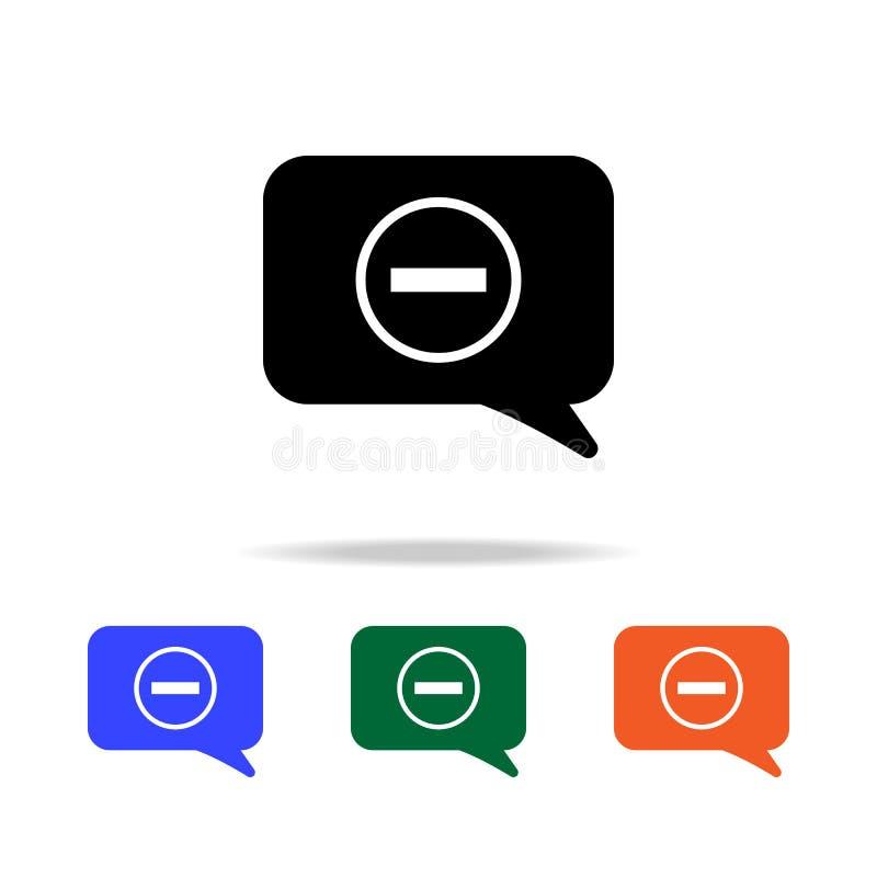 Ablehnung in einer Kommunikationsblasenikone Elemente der einfachen Netzikone in der multi Farbe Erstklassige Qualitätsgrafikdesi lizenzfreie abbildung