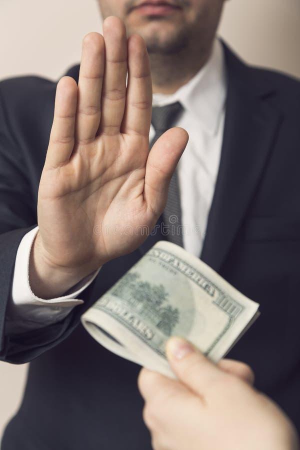 Ablehnung eines Bestechungsgelds stockfotos